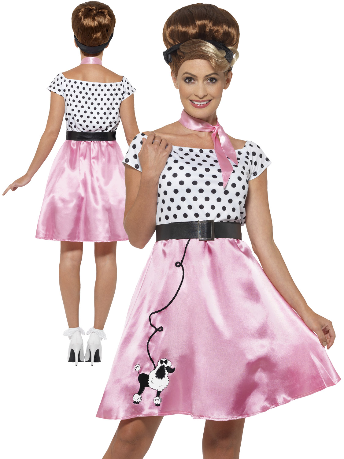 b82183e827e5 Ladies 50's Rock 'N' Roll Costume Adults 1950s Fancy Dress Poodle Grease  Womens. Image 2