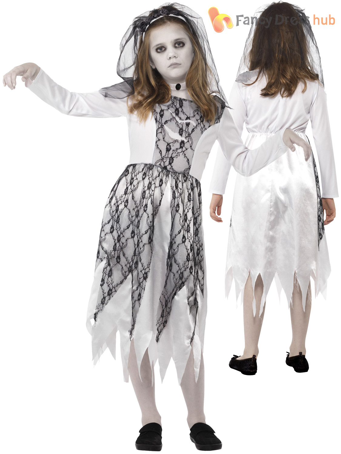Girls ghost zombie corpse bride fancy dress up halloween book week girls ghost zombie corpse bride fancy dress up solutioingenieria Images