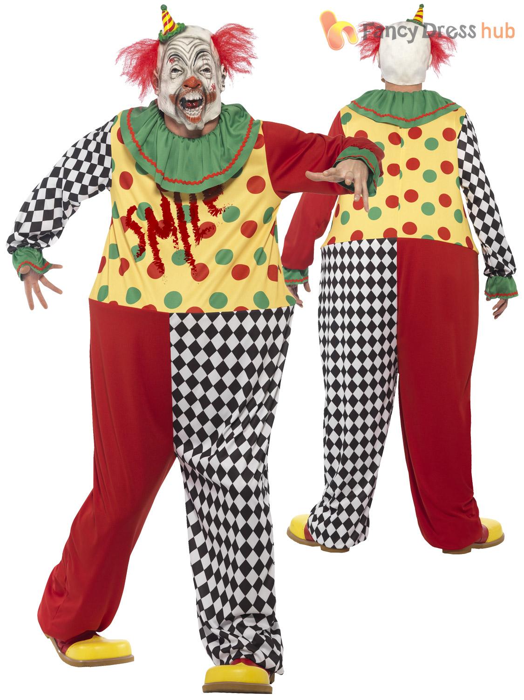 mens killer clown jester costume mask halloween circus evil horror fancy dress ebay. Black Bedroom Furniture Sets. Home Design Ideas