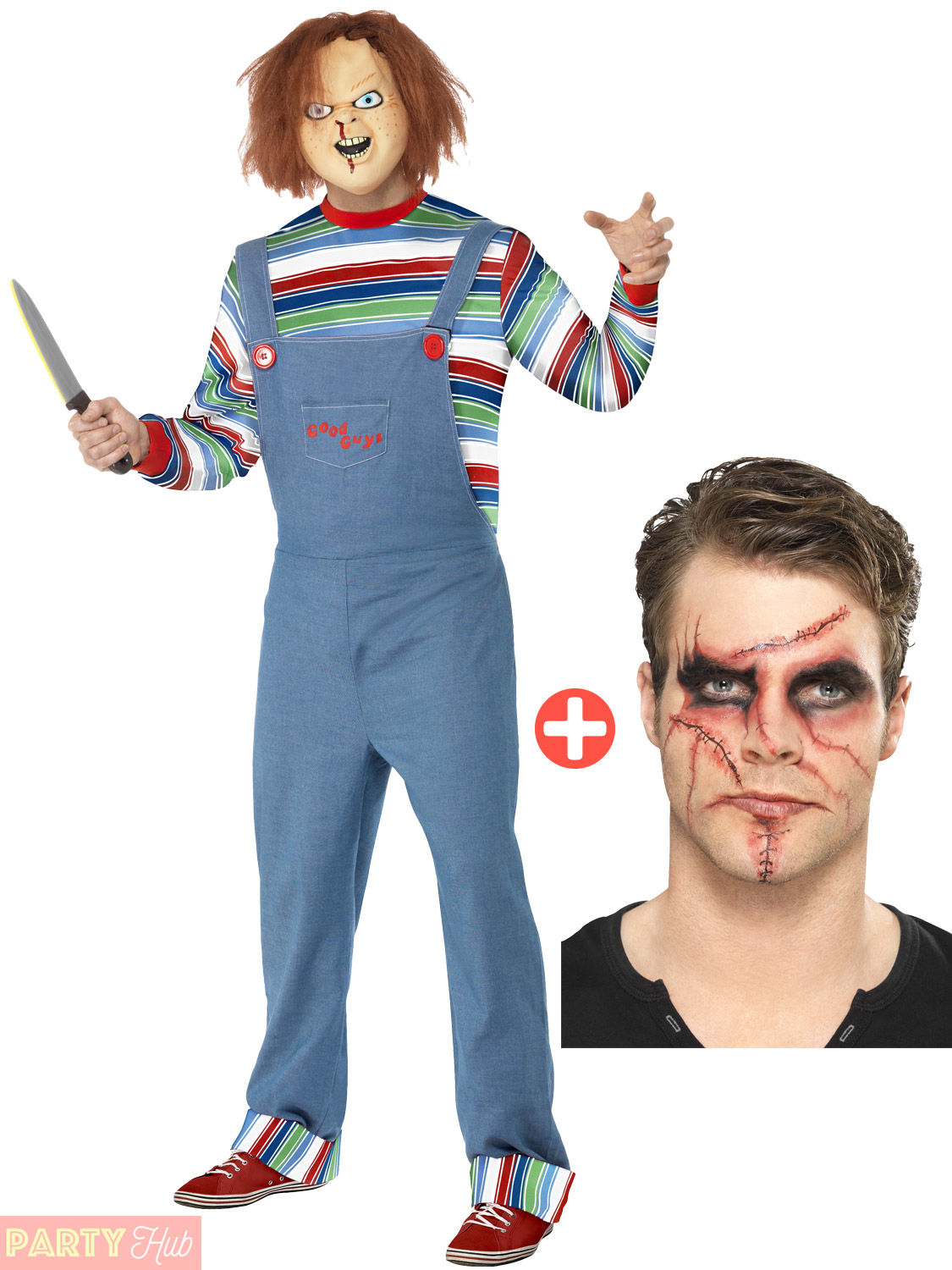 Mens Chucky Costume + Malke Up Kit Halloween Fancy Dress Outfit 80s ...