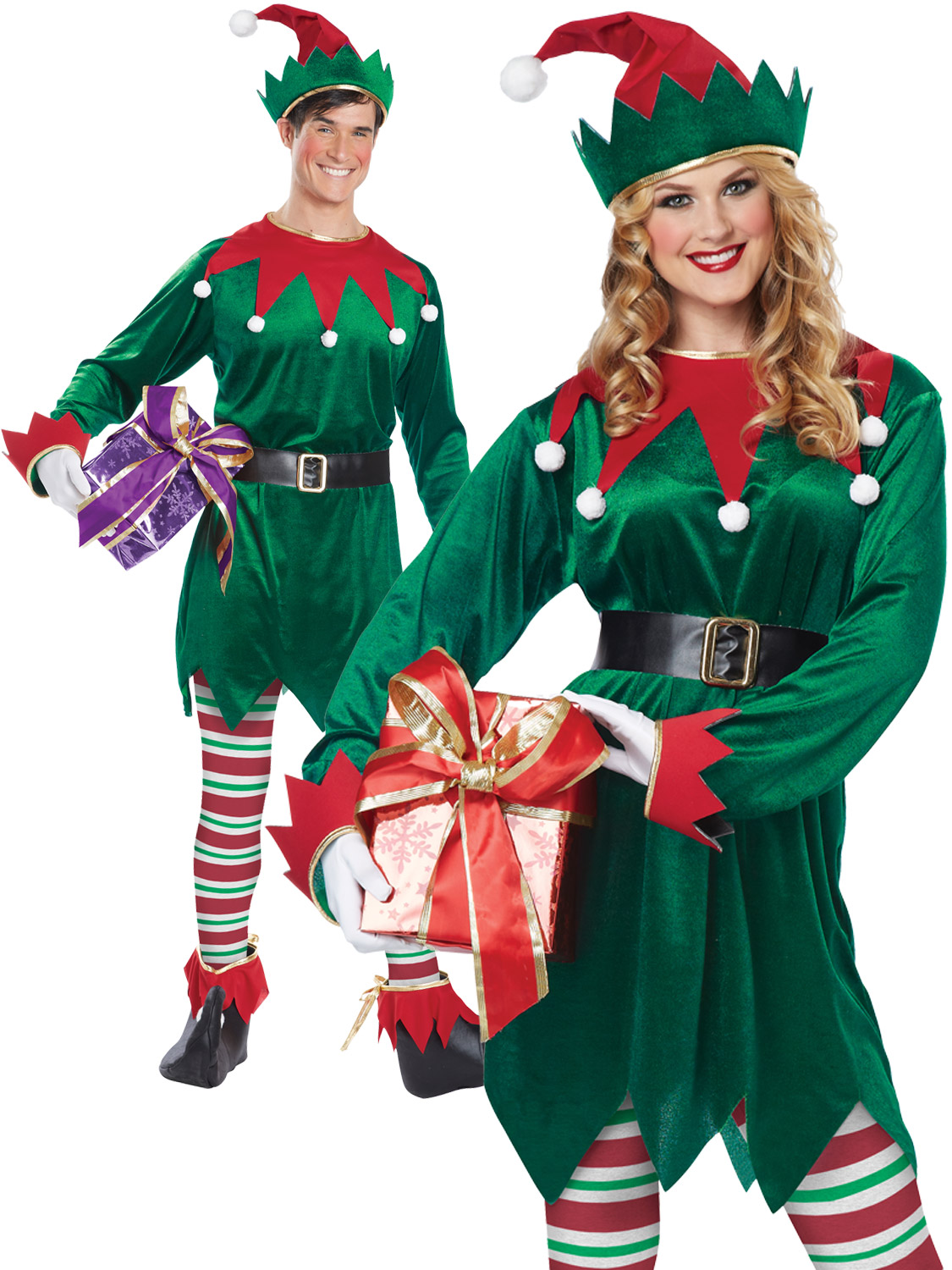 Adults deluxe elf costume mens ladies christmas fancy dress santas transform yourself into a christmas elf this xmas perfect for both men and women solutioingenieria Images