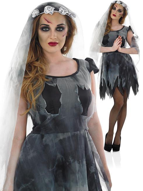 Ladies Short Black Corpse Bride Costume