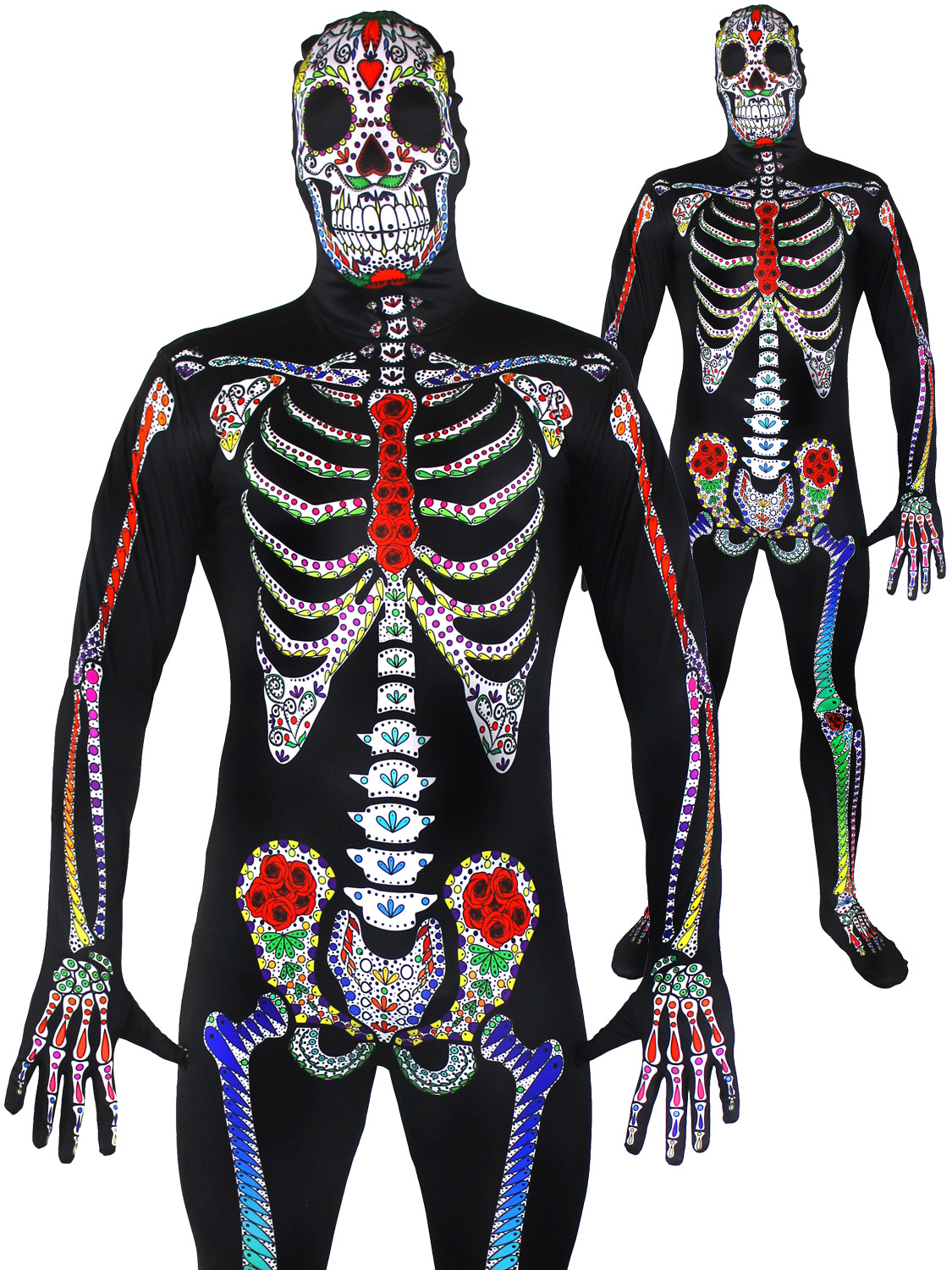 Men\'s Sugar Skeleton Skin Suit | All Halloween | Fancy Dress Hub