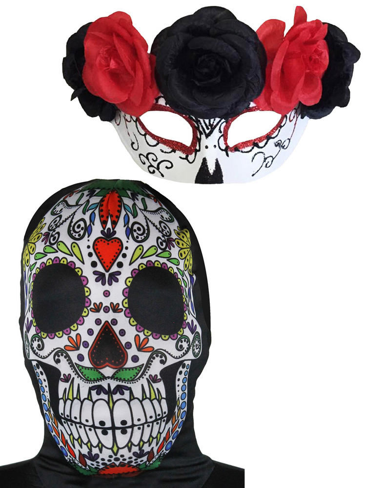 Day of the Dead Fancy Dress Accessory Sugar Skull Hat Cape Halloween Skeleton