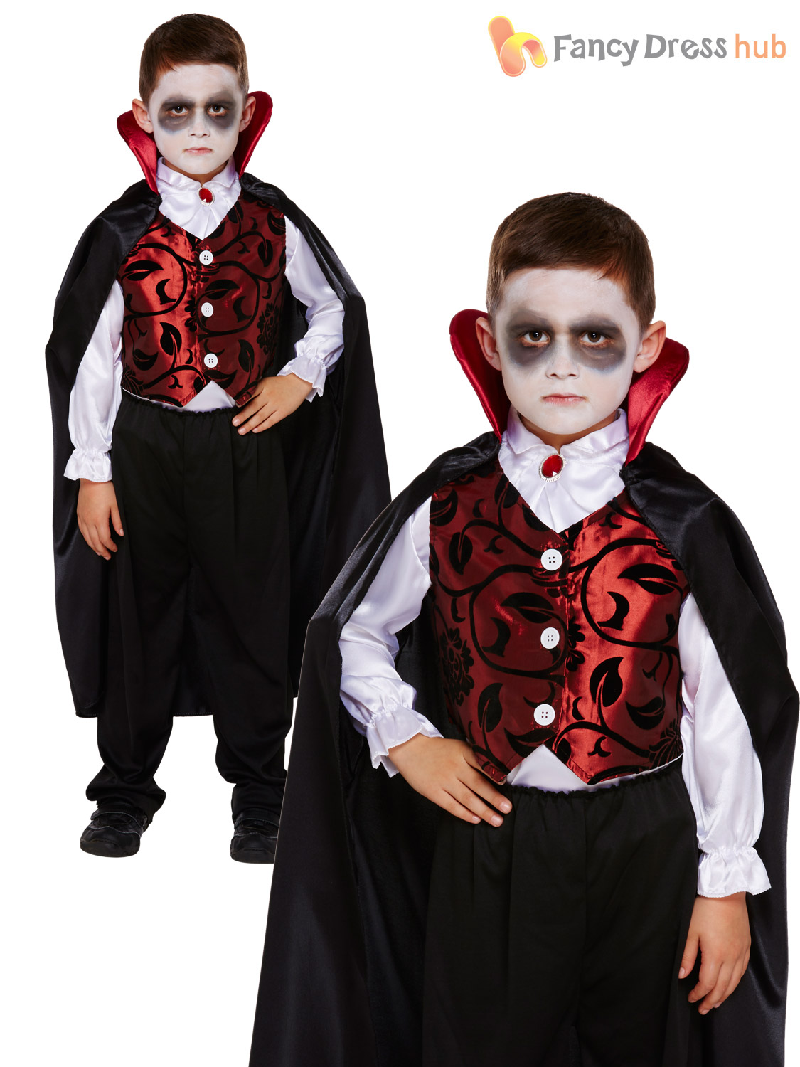 Childrens-Deluxe-V&ire-Costume-Boys-Dracula-Halloween-Fancy-  sc 1 st  eBay & Childrens Deluxe Vampire Costume Boys Dracula Halloween Fancy Dress ...