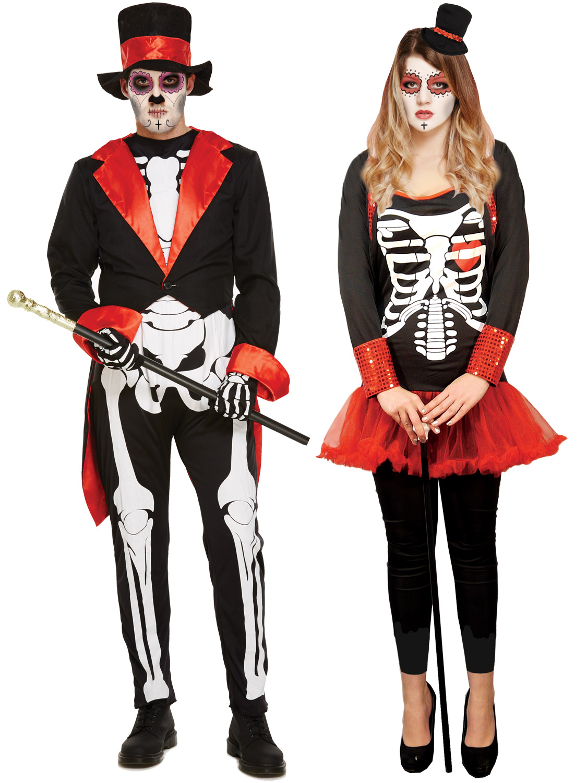 Ladies Mens Bone Jangles Skeleton Halloween Day Of The Dead  Fancy Dress Costume