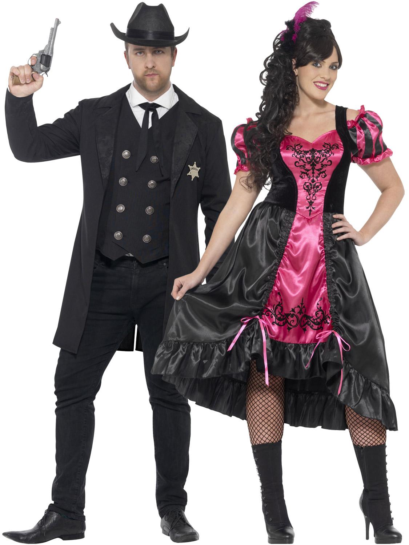 Details about Mens Ladies Wild West Costume Sheriff Saloon Girl Plus Size Fancy Dress Couples