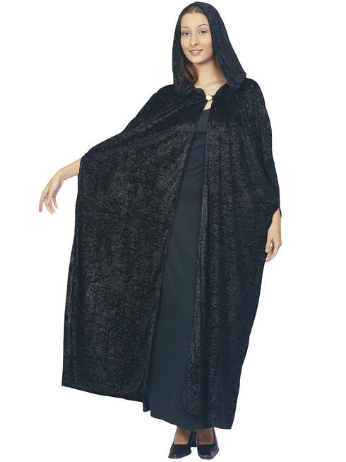 Adult's Black Velvet Hooded Cloak