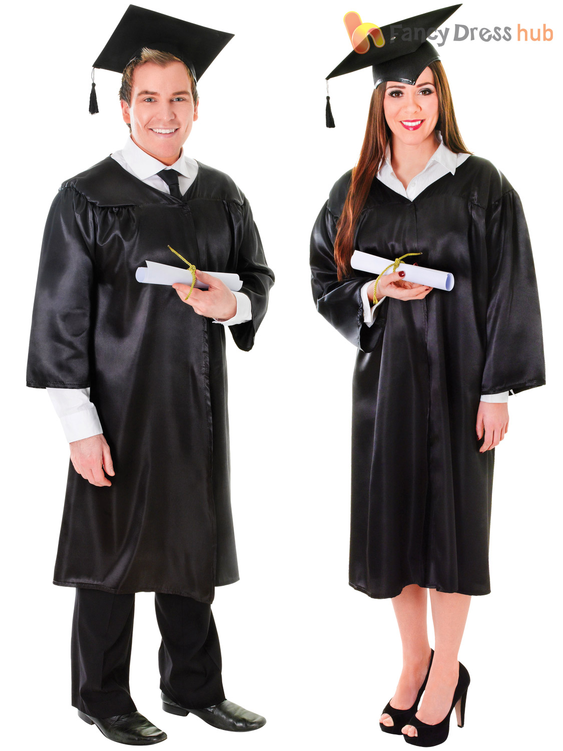Adults Graduation Robe & Hat Costume Mens Ladies Student Gown Robe ...