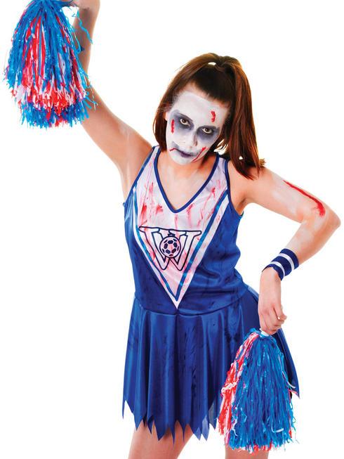 Ladies Zombie Blue Cheerleader Costume