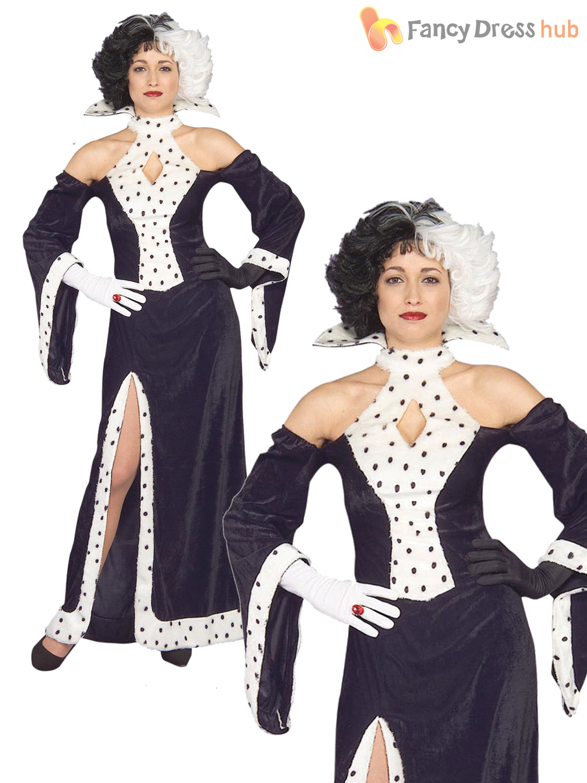 ladies cruella deville costume halloween dalmation dalmatian fancy