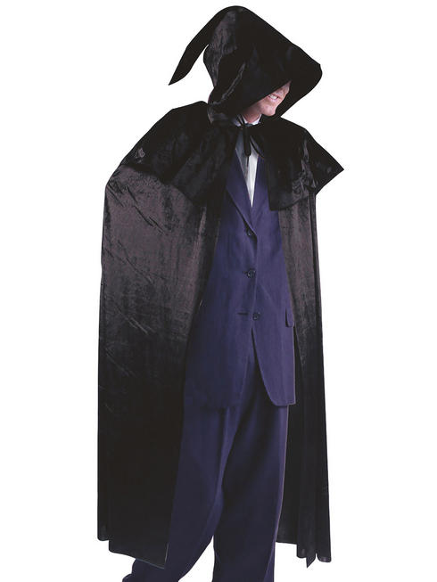 Adult's Black Velvet Cloak & Hood