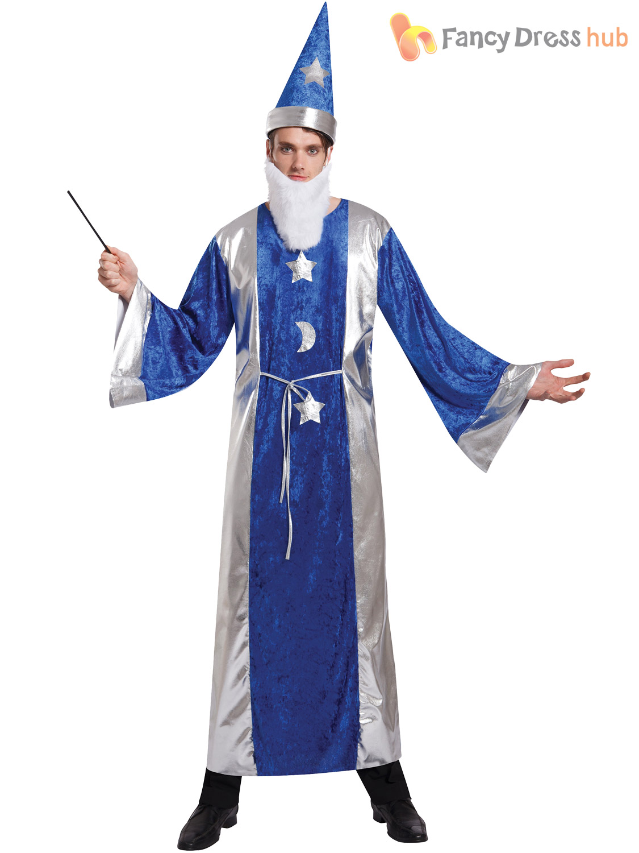 Mens Magician Robe & Hat / Wizard Costume Adults Magic Merlin ...