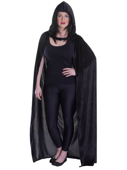 Adults Black Velvet Hooded Cloak