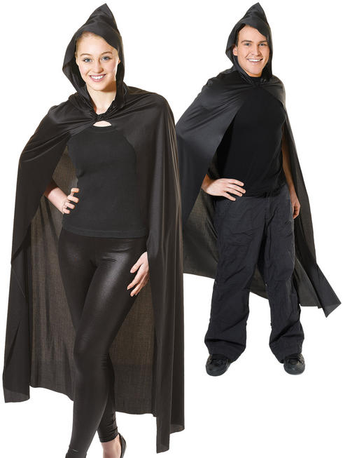 Adult's Long Black Hooded Cape