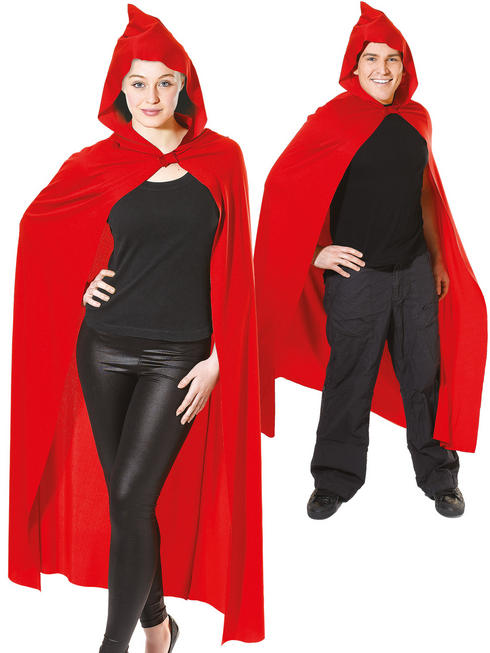 Adult's Long Red Hooded Cape