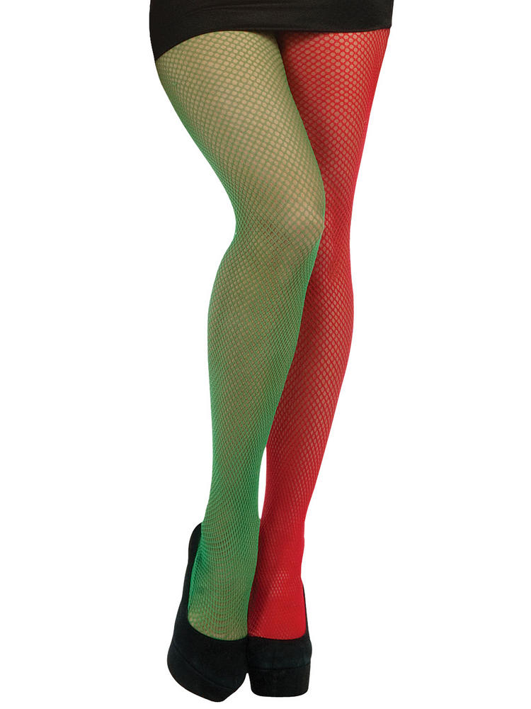 Ladies Green & Red Fish Net Tights