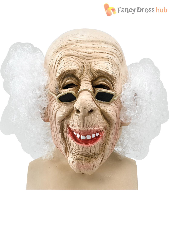 Adult Mens Grumpy Old Man Mask Wrinkled Realistic Fancy Dress Halloween Stag Ebay