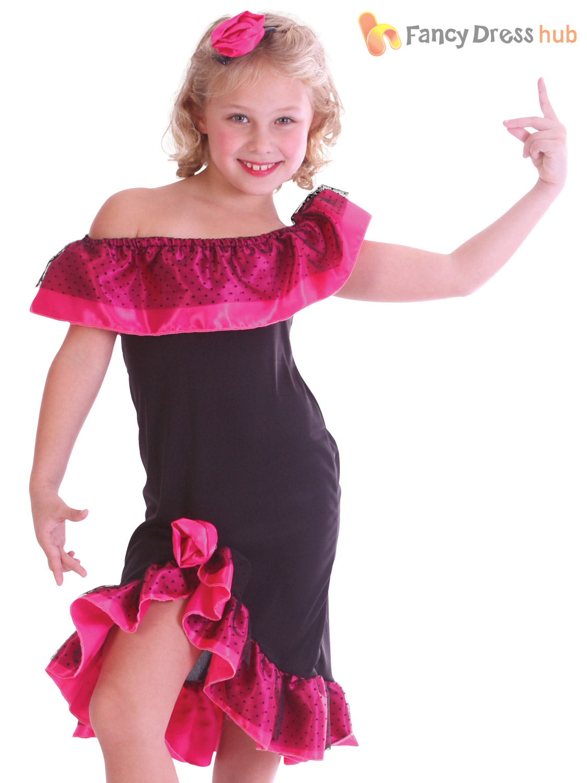 Girls Flamenco Girl Costume For Spanish Spain Spaniard Fancy Dress