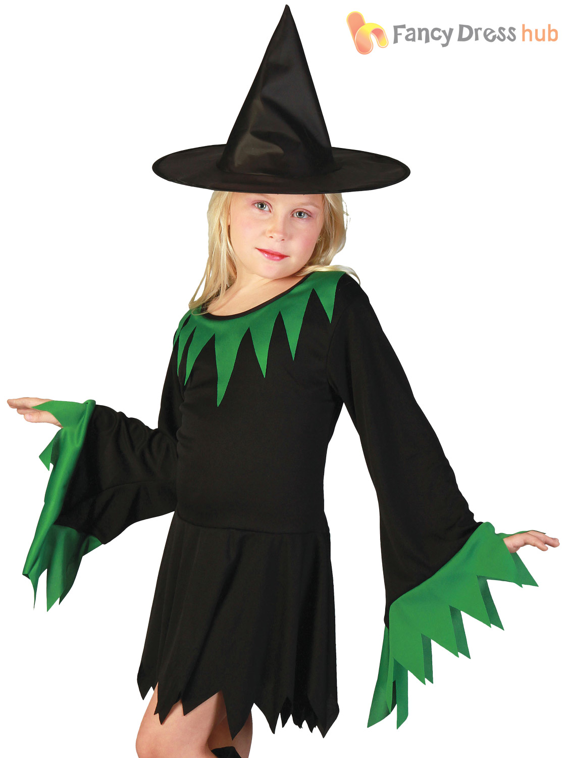 9b05b4d4dff Details about Girls Witch Costume Childs Kids Halloween Wicked Witches  Fancy Dress Outfit