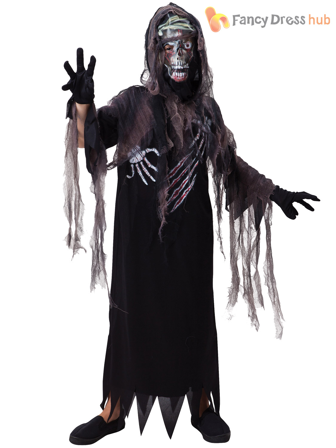 childrens zombie hooded grim reaper fancy dress costume halloween