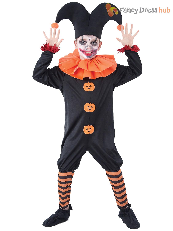 childs evil jester costume boys girls fancy dress halloween clown