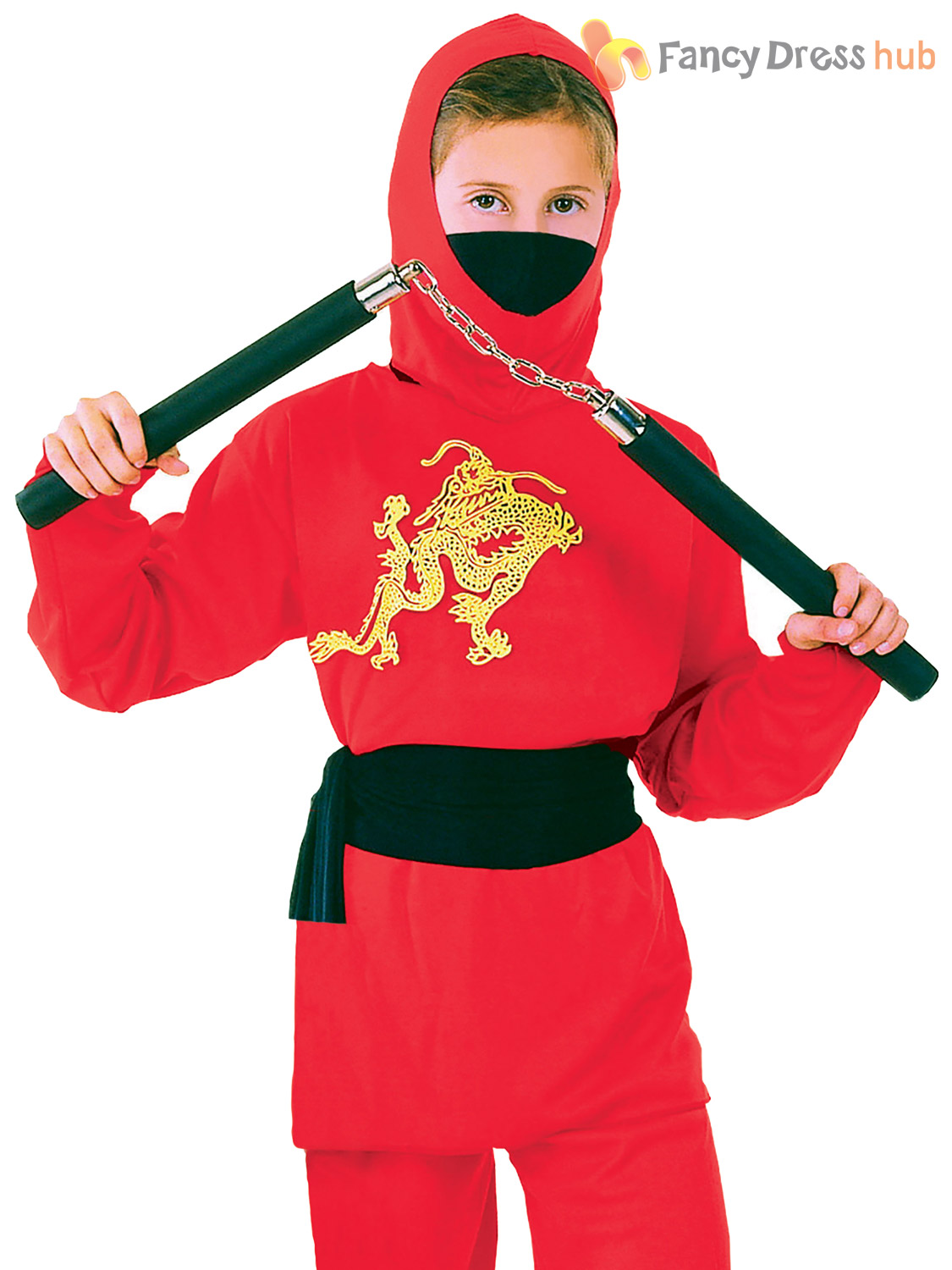 Kids Red Ninja Costume Boys Samurai Fancy Dress Martial Arts Book Week Outfit | EBay