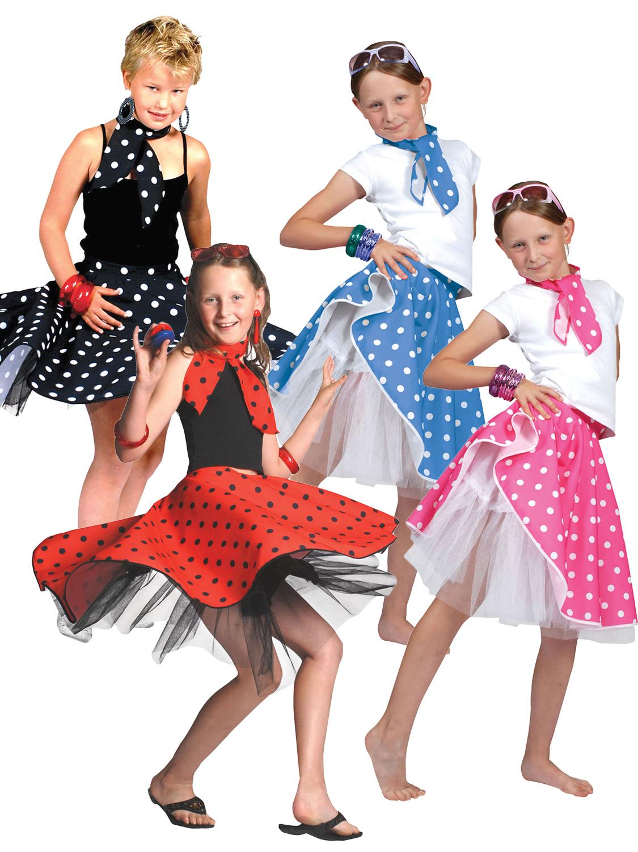 50s Rock N Roll Girls Fancy Dress 1950s Jazz Bopper Kids