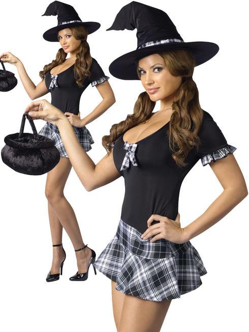 Ladies Sexy Schoolgirl Witch Costume