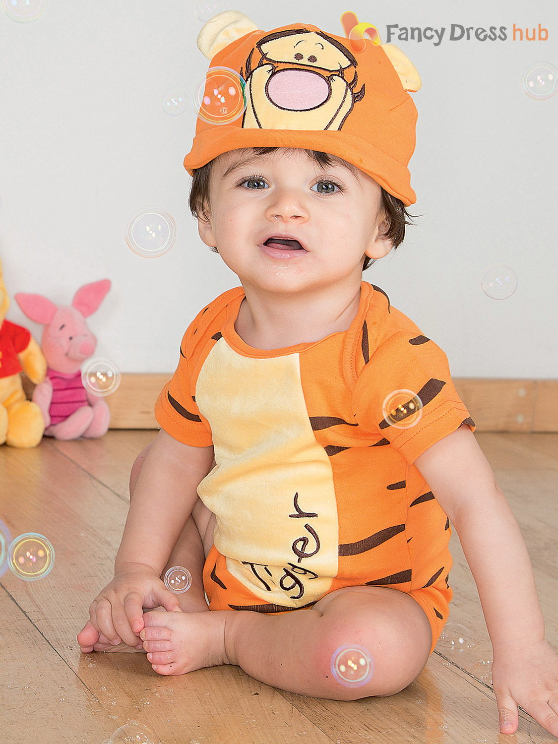 Disney-Baby-Winnie-the-Pooh-Bodysuit-Hood-Outfit-Toddler-Fancy-Dress-Costume thumbnail 3