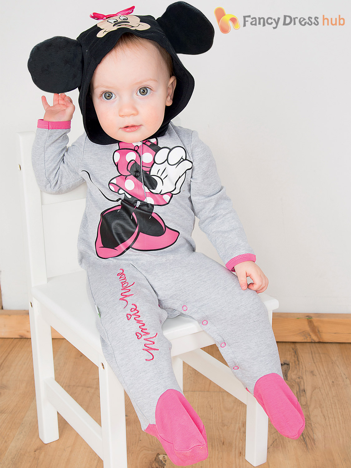 Disney Baby Mickey Mouse Minnie Romper + Hood Toddler Fancy Dress ... 2c322cfbefd1