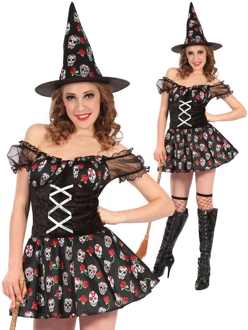 Ladies Witch Skull Design Dress