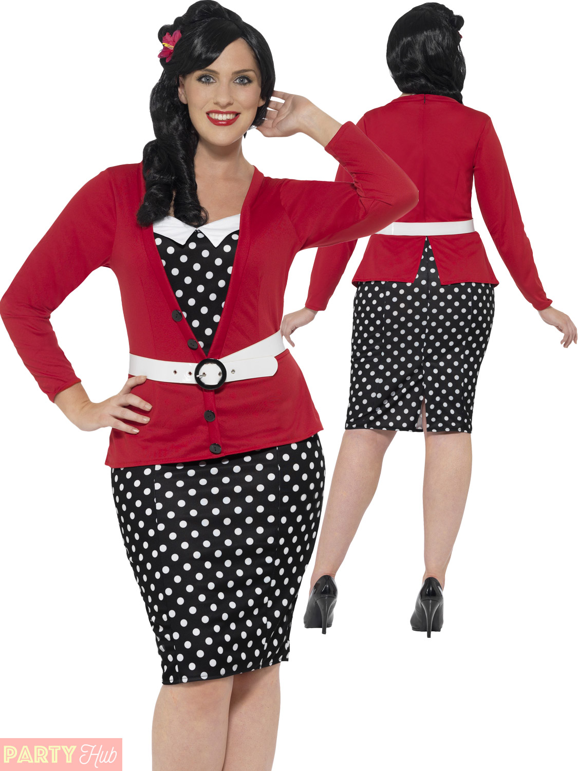 Details about Ladies 1950s Pin Up Curves Costume Adult Womans 50s Plus Size  Fancy Dress Outfit
