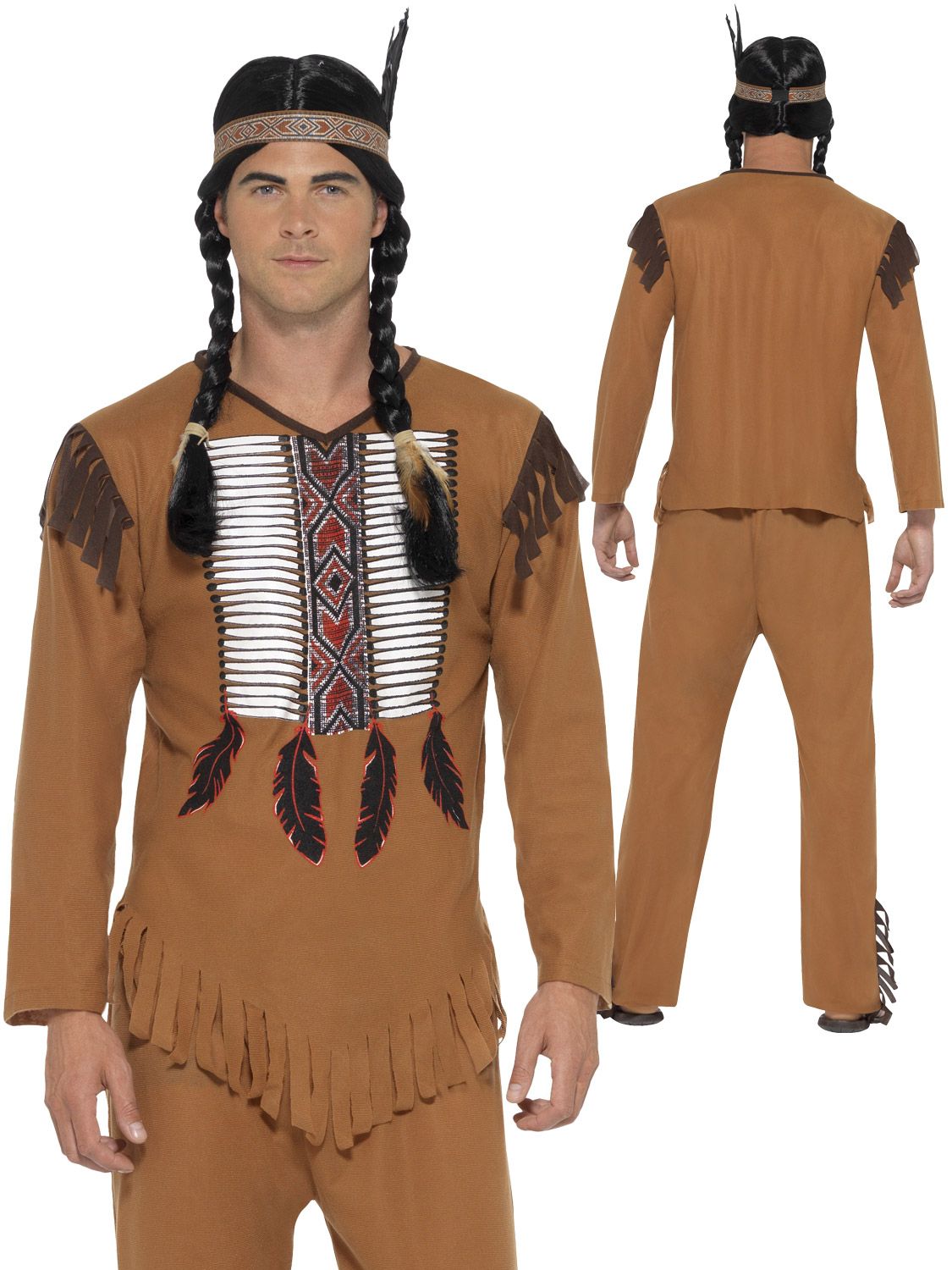 Image 2  sc 1 st  eBay & Adults Native Indian Costume Mens Western Warrior Fancy Dress Outfit ...