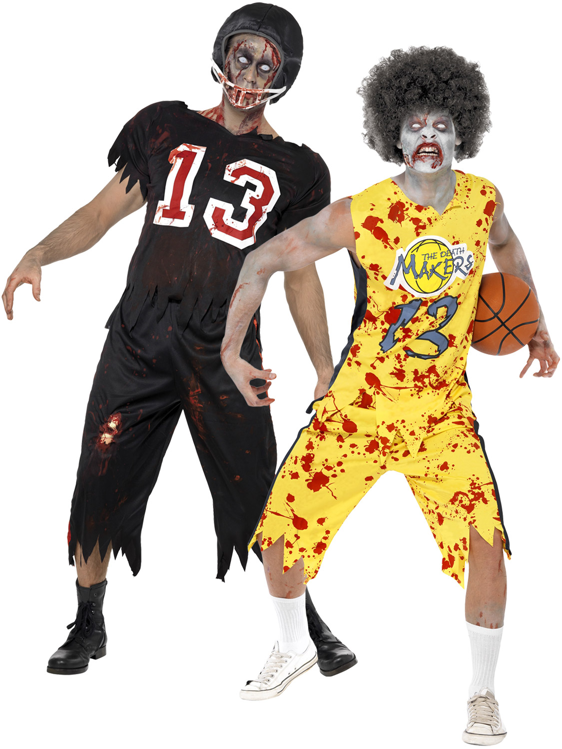 mens zombie american footballer costume adult sport player halloween