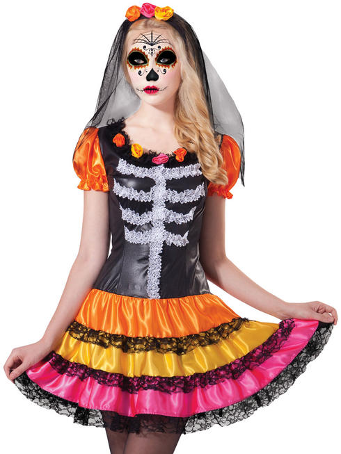 Ladies Day of the Dead Rainbow Costume