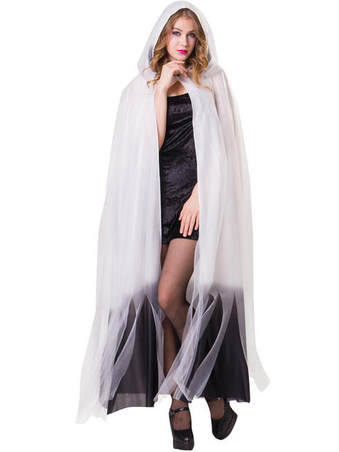 Adults White Ombre Hooded Cape