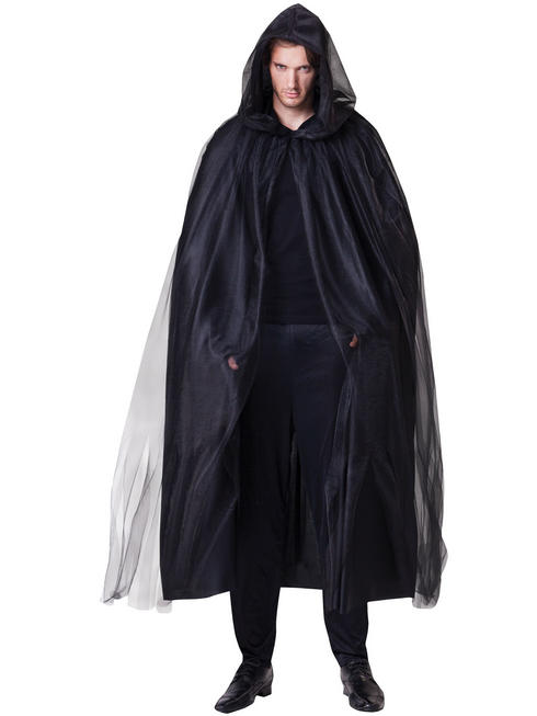 Adults Black Hooded Cape