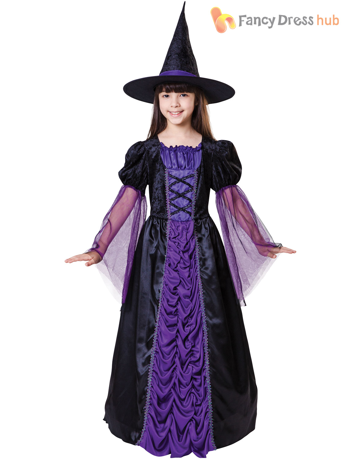 Girls Witch Costume Halloween Fancy Dress Age 4-12 Long Black Purple ...