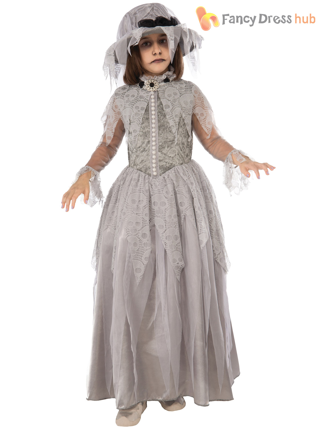 Girls Victorian Ghost Costume Ghostly Girl Halloween Fancy Dress Kids Child | EBay