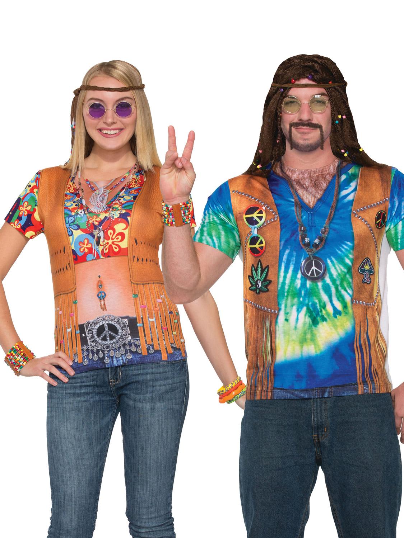 fb7e8d760bf56 Details about Adults Hippie 3D Print T-Shirt Mens Ladies Hippie 1970s Fancy  Dress Costume Top