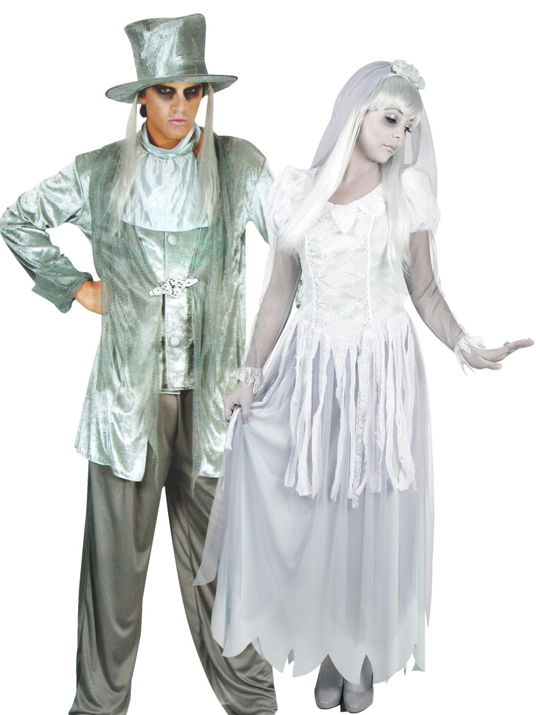 Bride And Groom Halloween Costume.Details About Ghost Zombie Bride And Groom Halloween Costume Ladies Mens Couples Fancy Dress