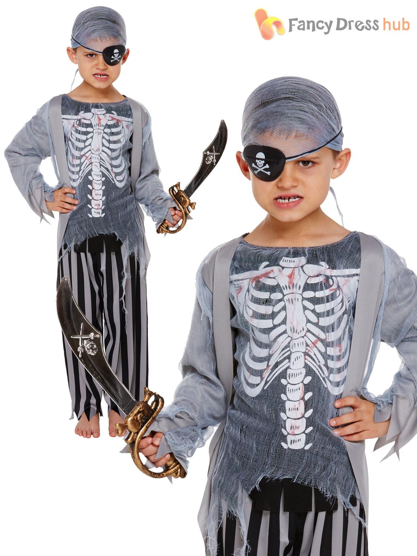 Childrens-Zombie-Pirate-Costume-Boys-Girls-Halloween-Fancy-  sc 1 st  eBay & Childrens Zombie Pirate Costume Boys Girls Halloween Fancy Dress ...