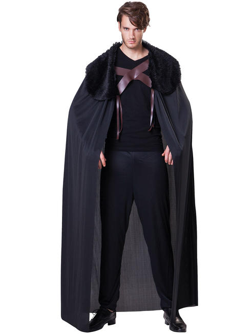 Men's Black Cape With Plush Collar