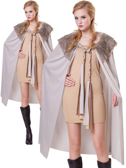 Ladies Grey Short Deluxe Cape With Plush Collar