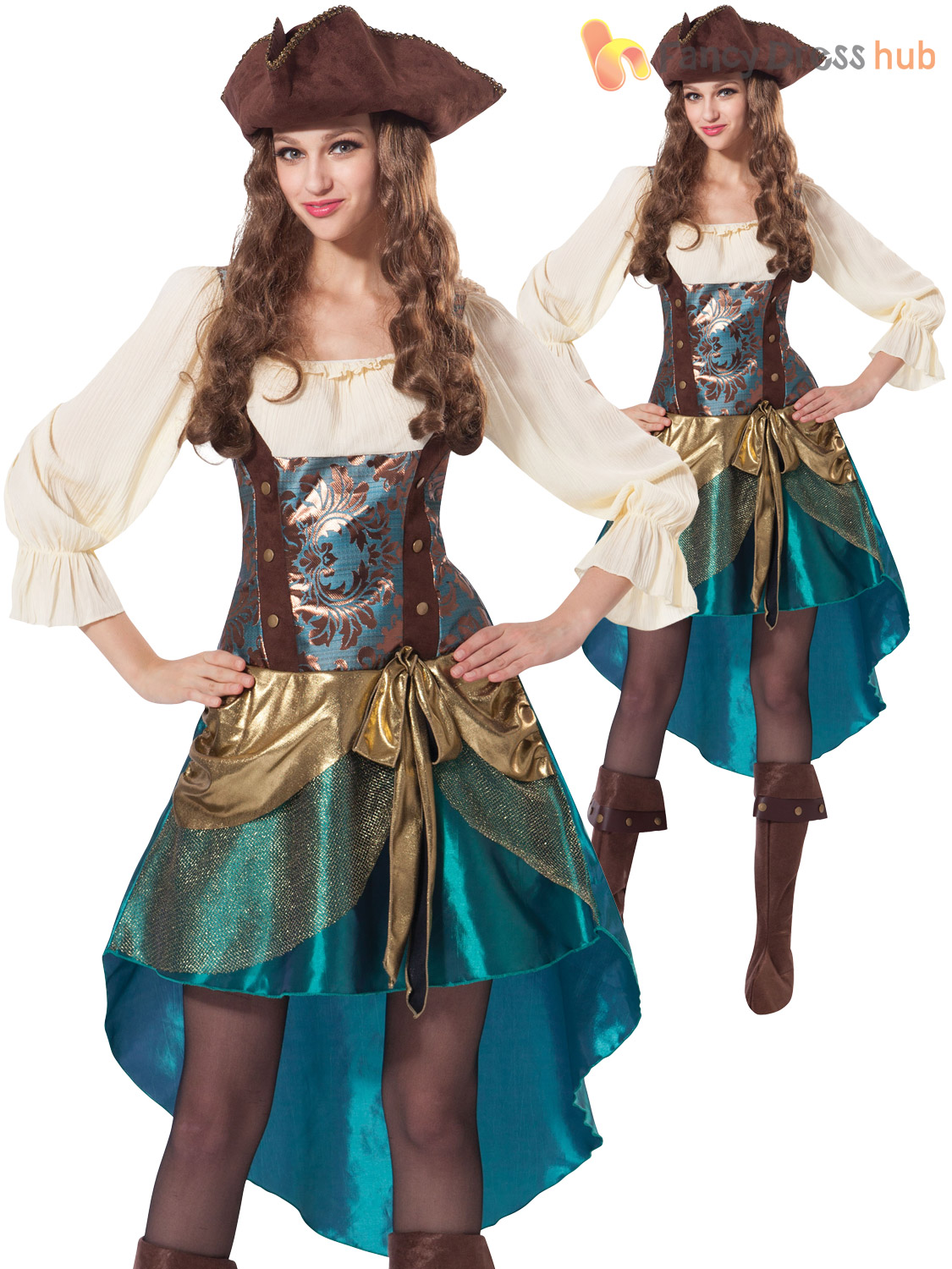 Ladies-Pirate-Princess-Costume-Adult-Captain-Buccaneer-Fancy-  sc 1 st  eBay : ebay pirate costume  - Germanpascual.Com