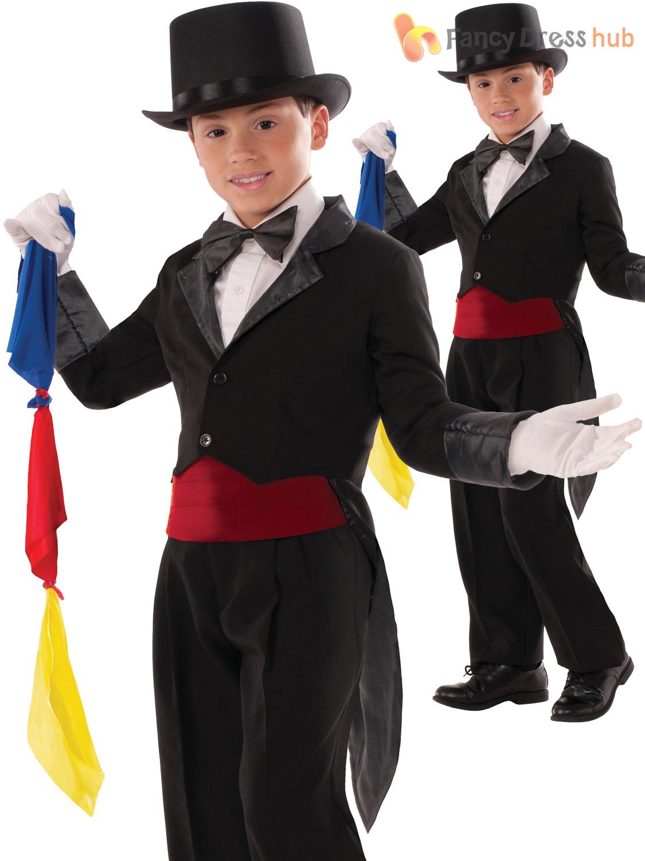 Child Black Magician Tailcoat With Secret Pocket /& Scarves Costume Large