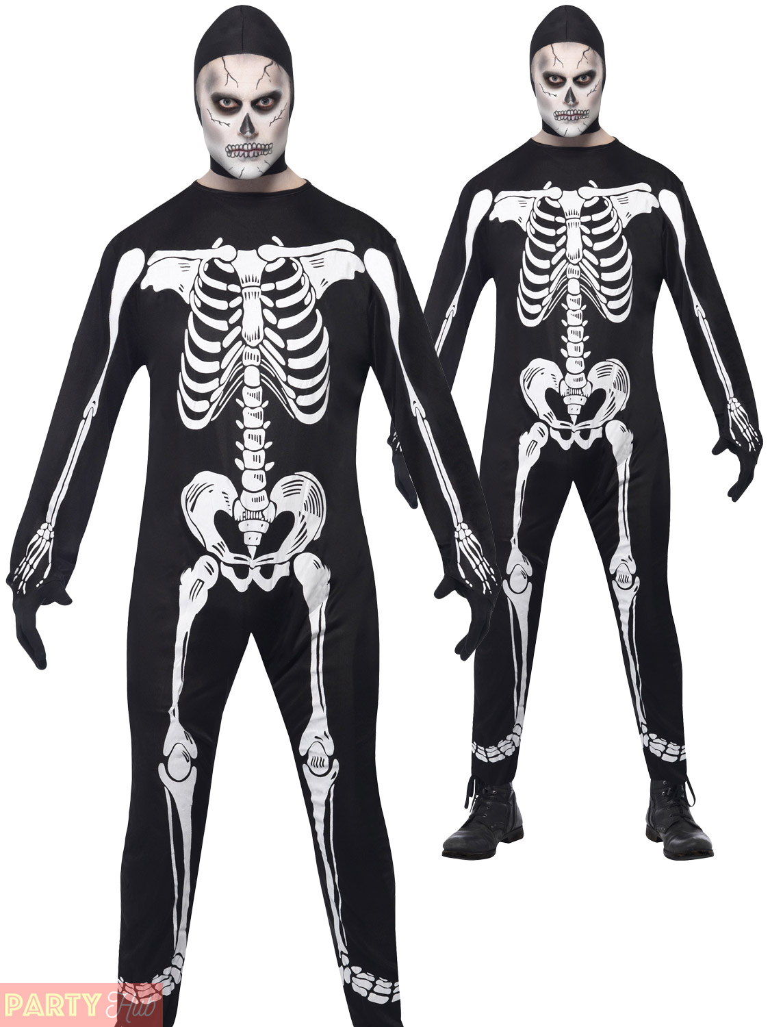 Adult Mens Skeleton Costume Jumpsuit Scary Smiffys Halloween Fancy Dress Outfit