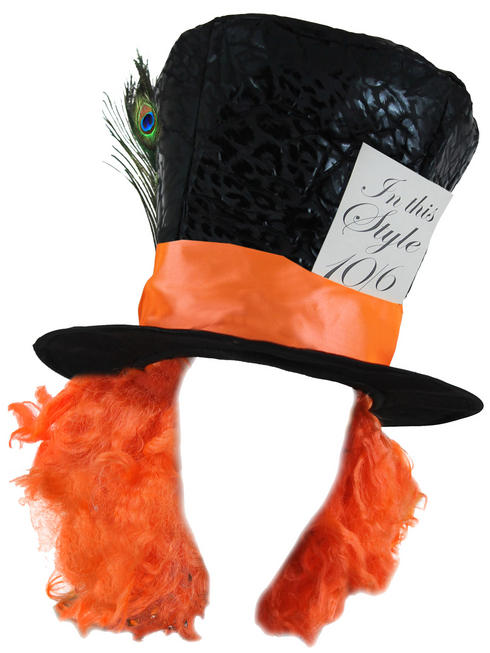 Mad Hatter Hat with attached Hair