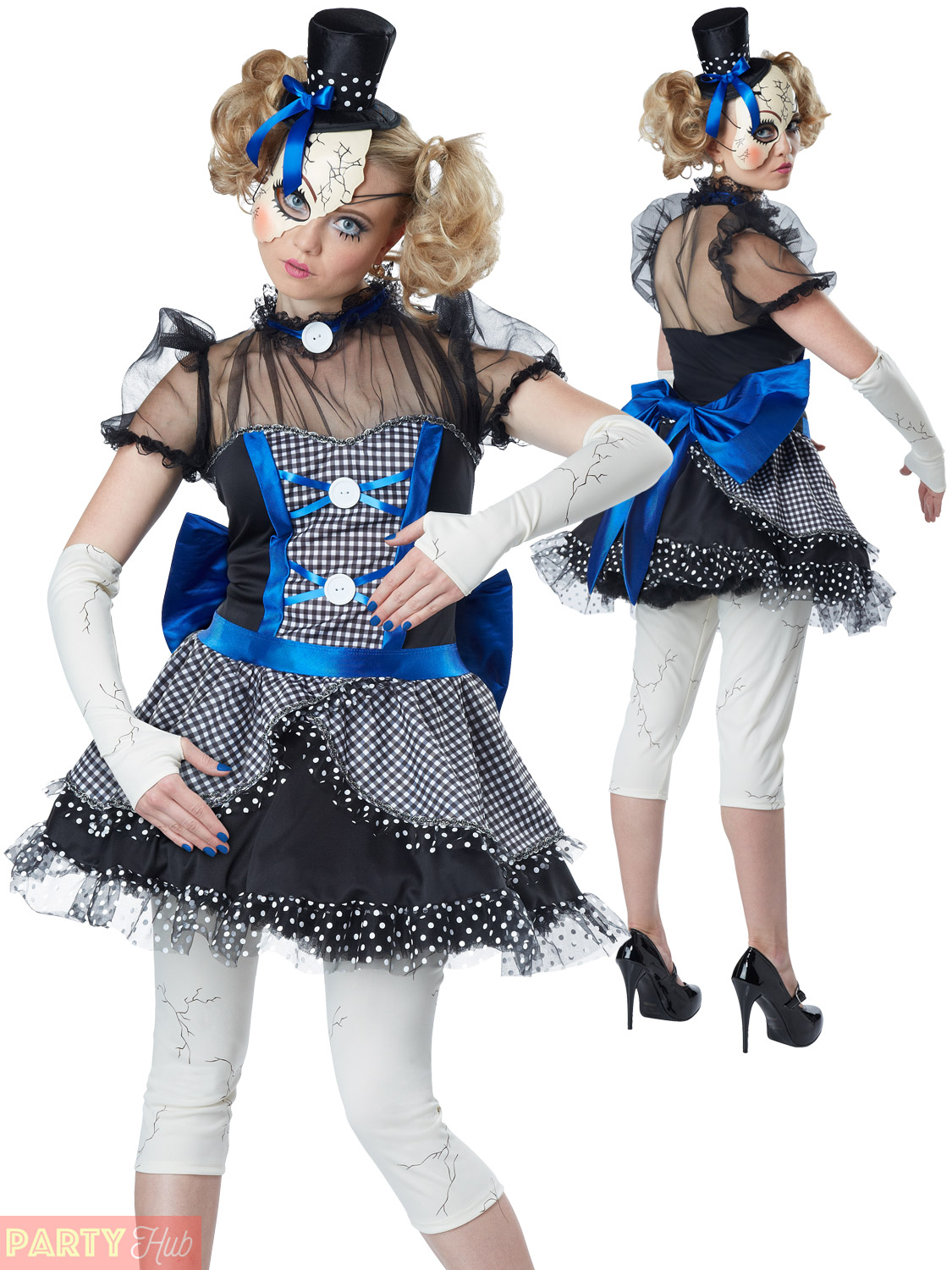 b2aaa8f7cae Ladies Sexy Twisted Broken Doll Costume Adult Halloween Fancy Dress ...